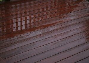 Wooden deck after rain