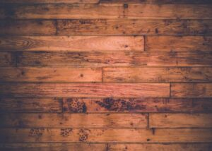 wood floor with footprints