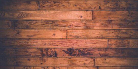 wood floor with footprints