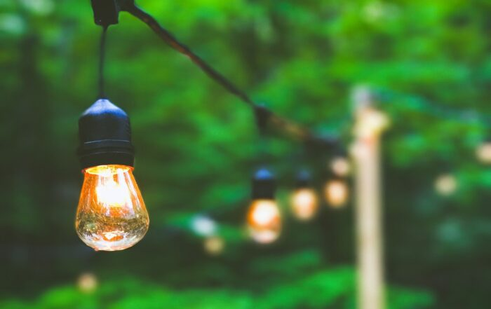 Decorative outdoor lights hanging in backyard