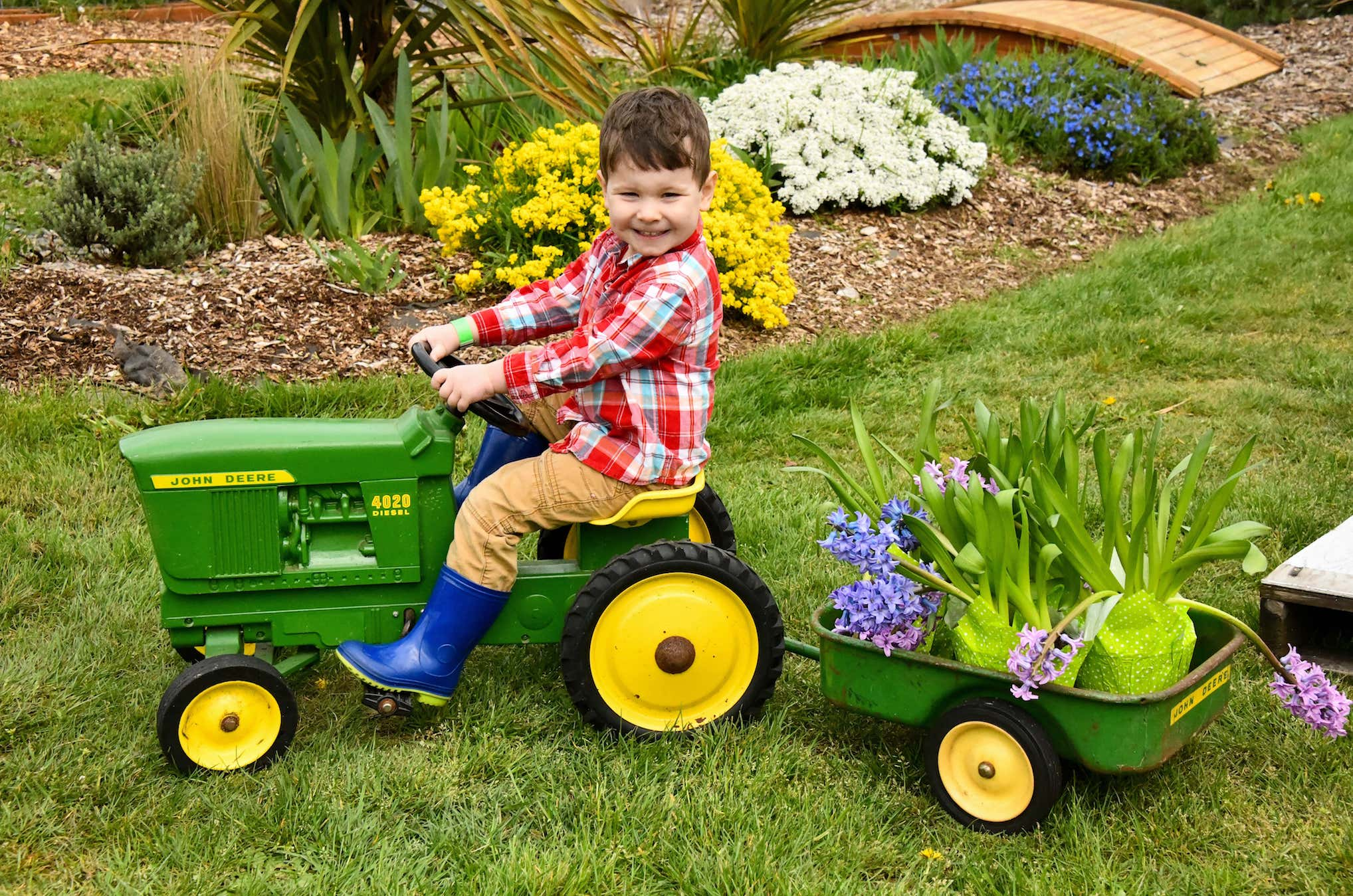 Kid Riding Toy Tractor On Green Lawn