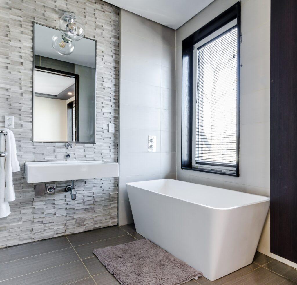 beautiful light gray bathroom